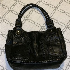 Black faux snake skin BoHo black shoulder bag